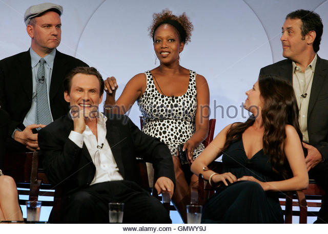Actors Christian Slater (bottom L) and Yara Martinez (bottom R) along with (rear L-R) writer Mike O'Malley and - Stock Image
