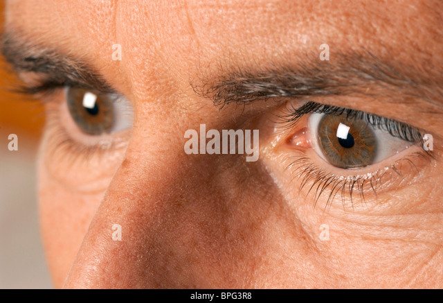 Photograph of man's eyes - Stock Image