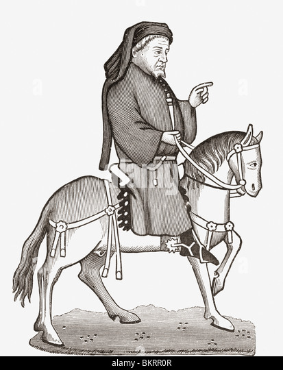 Geoffrey Chaucer c. 1343 to 1400. English author, poet, philosopher, bureaucrat, courtier and diplomat. - Stock Image