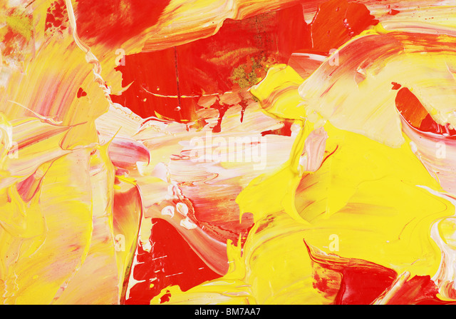 Oil painting with yellow and red shapes - Stock Image
