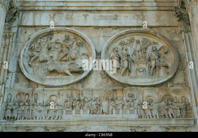 Relief at triumphal arch stock photos