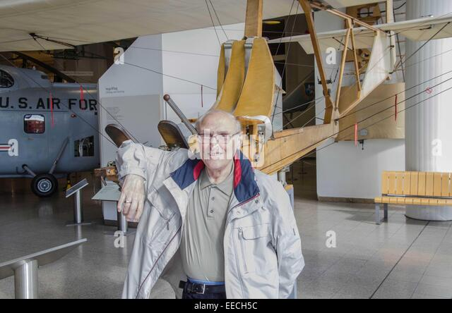 This gentleman was proud to be have trained on the SG 38 School glider at the Wasserkuppe. - Stock Image
