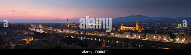 the Arno River and Florence at night from Piazzale Michelangelo, Florence, Tuscany, Italy - Stock Image