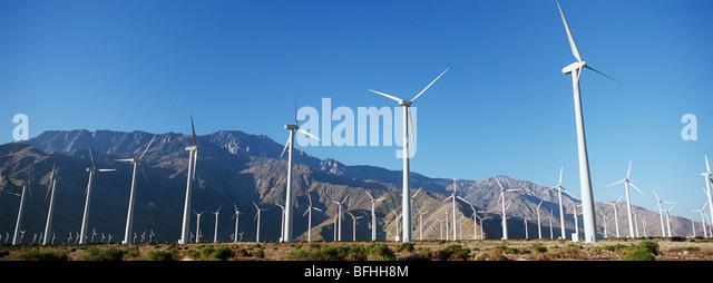 Valley of wind turbines in desert - Stock-Bilder