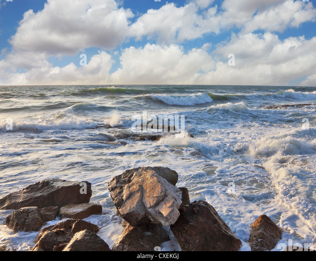 The rocks on the breakwater embankment - Stock Image