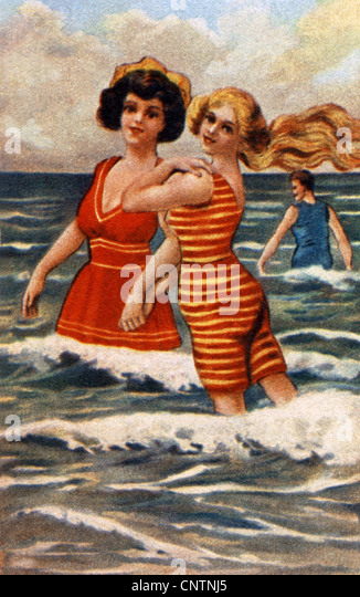 bathing, beach fashion, swimsuit, colour print, circa 1905, people, women, bathingsuit, 20th century, historic, - Stock Image