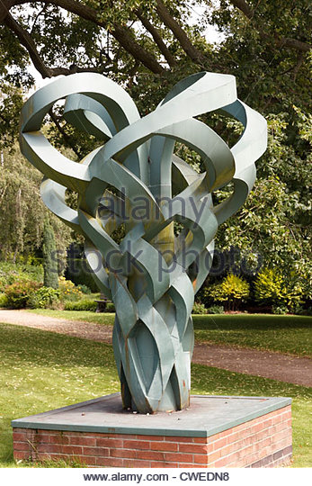 Metal modern art sculpture called 'Highs and Lows' by David Parker at Rufford Abbey Country Park, Ollerton, - Stock Image
