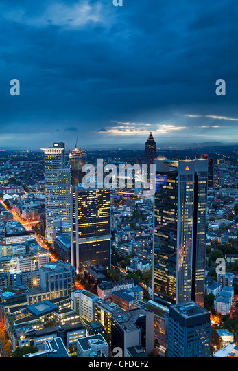 City centre from,at dusk, Frankfurt, Hesse, Germany, Europe - Stock Image