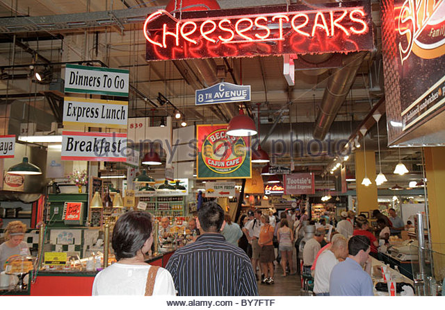 Philadelphia Pennsylvania Reading Terminal Market Center City historic farmers market local food Artisanal merchant - Stock Image