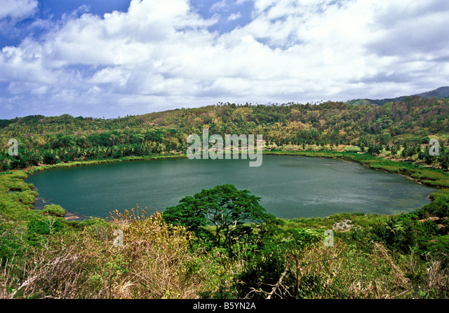 Grenada Lake Antoine National Park crater lake volcano crater filled with water popular tourist attraction - Stock Image