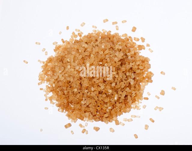 Brown sugar crystals - Stock Image