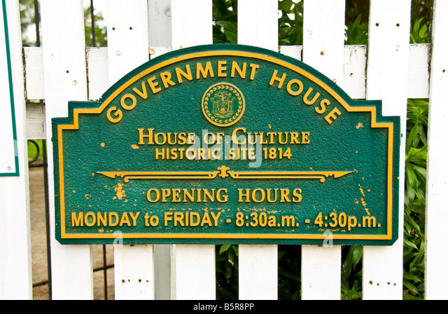 Belize City marker sign Government House House of Culture Historic Site 1814 tourist attraction - Stock Image