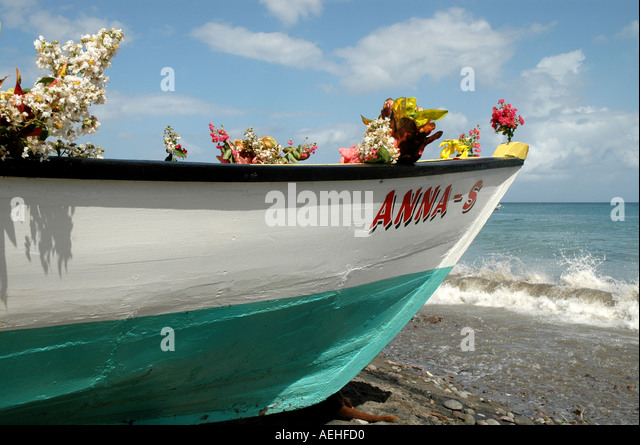 Grenada fishermans birthday annual june religious celebration decorated boat colorColorful Boat with Flowers on - Stock Image