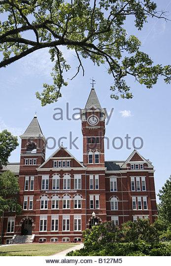 Auburn Alabama Auburn University Samford Hall Clock Tower administration building picturesque grounds campus higher - Stock Image