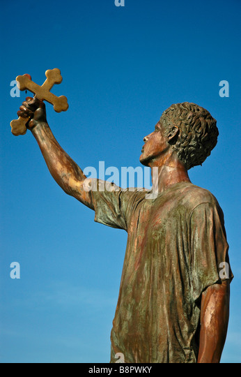 Epiphany Diver Statue St Nicholas Greek Orthodox Church Cathedral Tarpon Springs FL - Stock Image