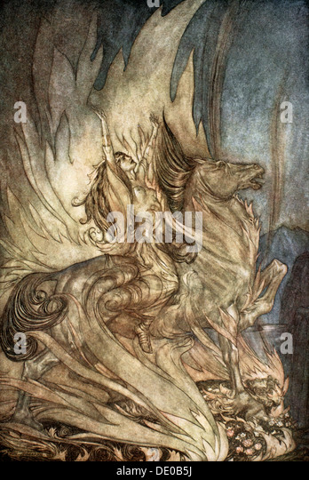 'Brunnhilde on Grane leaps on to the funeral pyre of Siegfried', 1924.  Artist: Arthur Rackham - Stock Image
