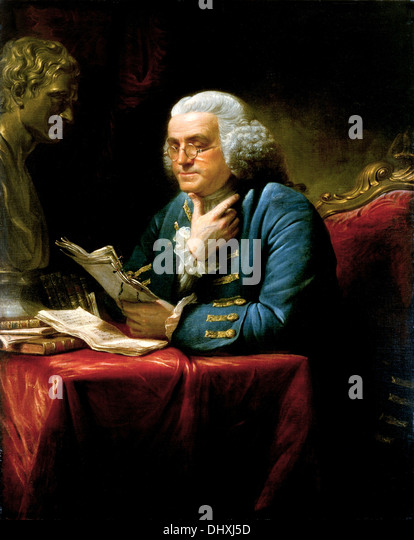 Benjamin Franklin - by David Martin, 1767 - Stock Image