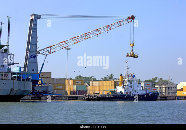 Containers handling yard ; Cochin Kochi harbour ; Kerala ; India - Stock Image