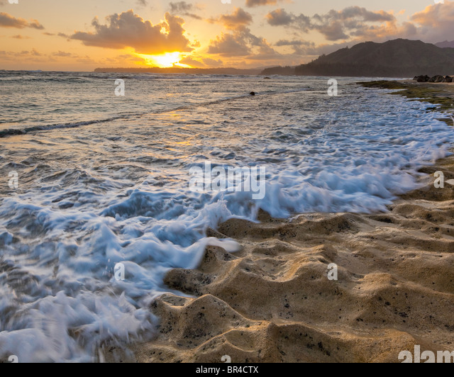 Kauai, Hawaii Textured rock of Haena beach on the north shore of Kauai - Stock Image
