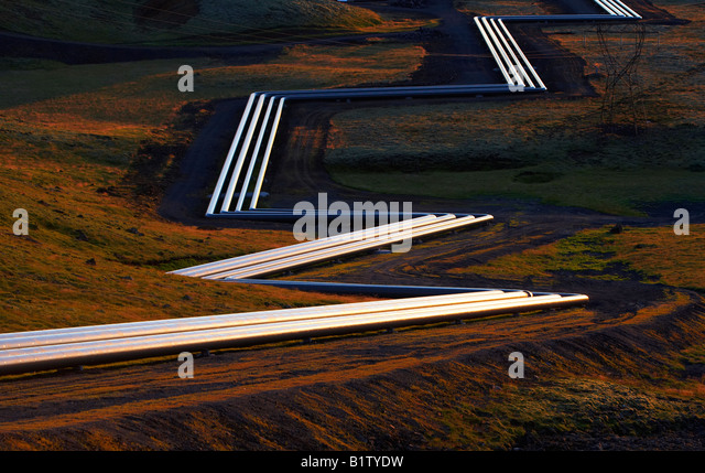 Geothermal Pipes at Hellisheidi Geothermal Power Plant, Iceland - Stock Image