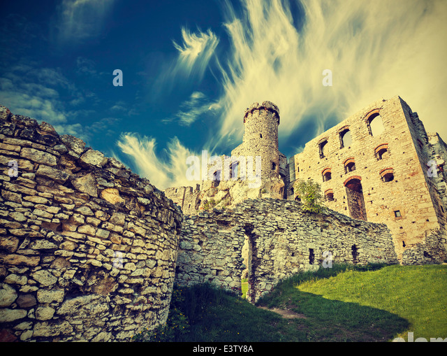 Vintage retro style ruins of castle. - Stock Image