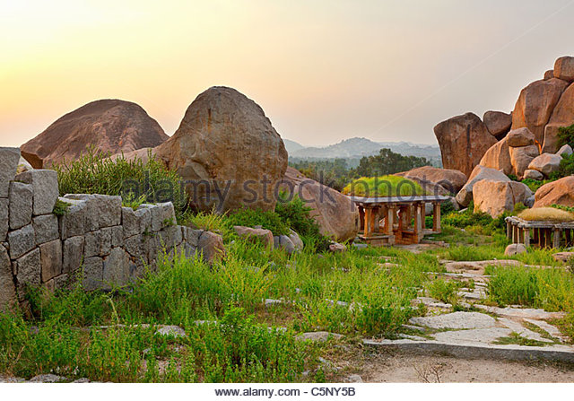 Ancient ruins, Hampi, Karnataka, India - Stock-Bilder