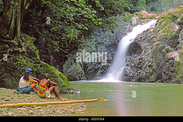 Tobago Argyll waterfall girls - Stock Image