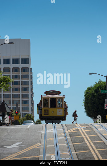 Cable car heading to downtown San Francisco - Stock Image