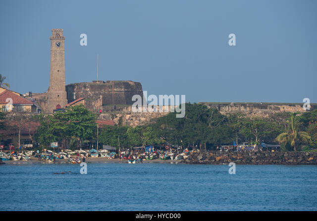 Sri Lanka, ancient port of Galle, aka Gimhathiththa. The Galle Clock Tower aka Anthonisz Memorial Clock Tower, circa - Stock Image