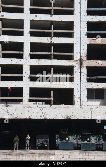 The destroyed building of former Holiday Inn Hotel in Beirut, Lebanon - Stock Image