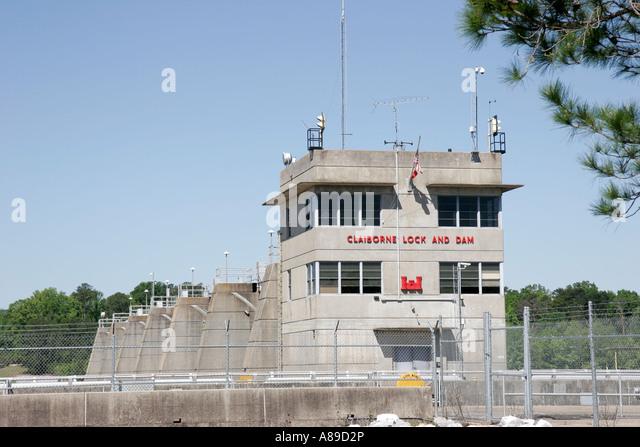 Alabama Monroeville Claiborne LOck and Dam Alabama River Lakes - Stock Image