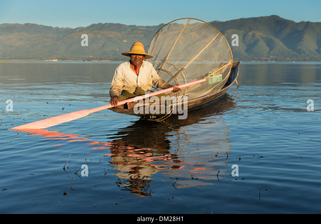 a fisherman on Inle Lake, Myanmar (Burma) - Stock Image