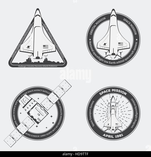 Retro black space shuttle emblems with stars in vintage style. Space shuttle with rocket and low Earth satellite - Stock Image