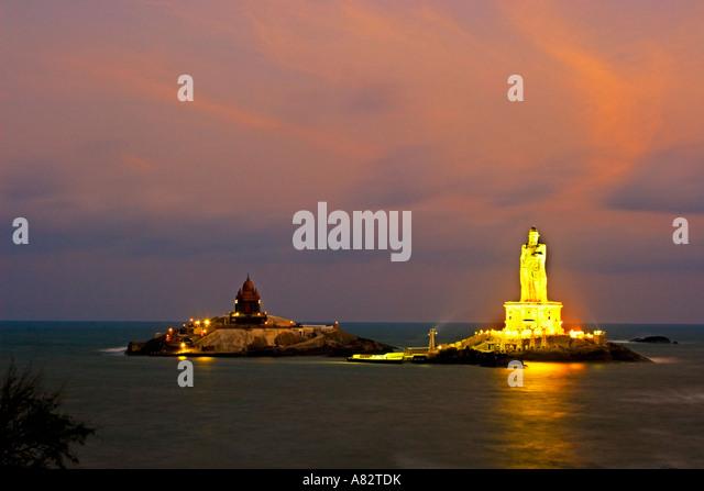 South India Tamil Nadu Kanyakumari Thiruvalluvar statue - Stock Image