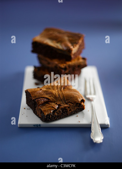 Brownies on plate, close-up - Stock-Bilder