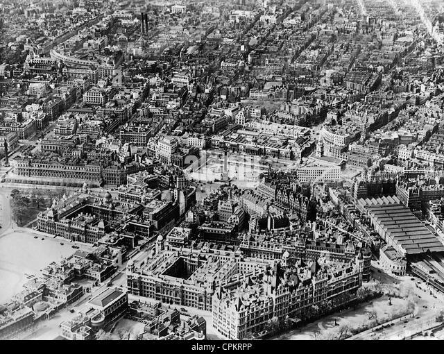 Aerial photograph of Trafalgar Square, 1937 - Stock Image