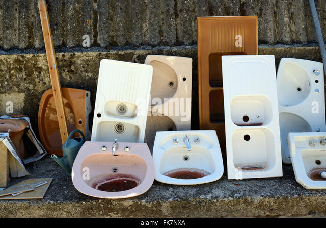 Recycled Secondhand or Second-Hand Old Bathroom Fittings and Kitchen Sinks - Stock Image