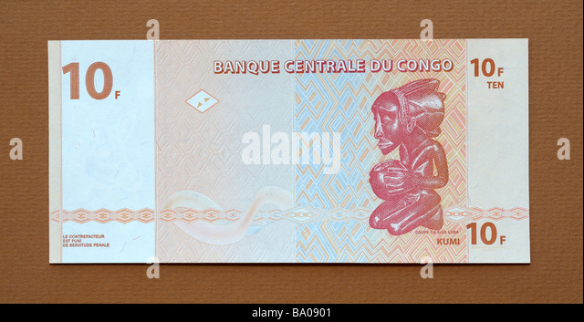 Democratic Republic of the Congo 10 Ten Franc Bank Note - Stock-Bilder