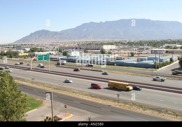New Mexico Albuquerque Interstate Sandia Mountain - Stock Image