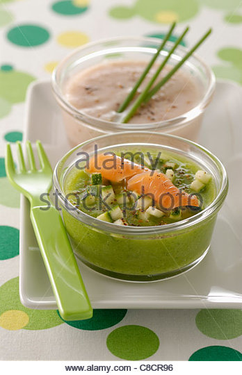 Courgette mousse with smoked salmon - Stock Image