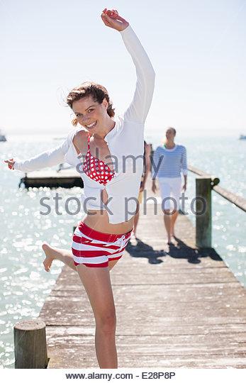 Friends on pier - Stock Image