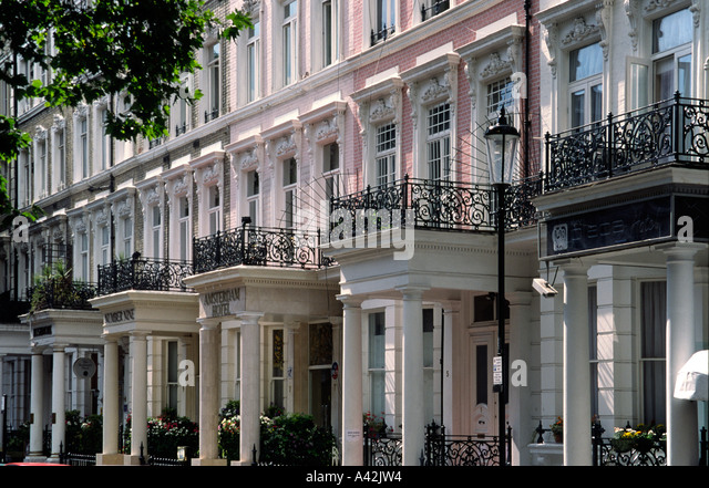 London South Kensington typical architecture Amsterdam Hotel - Stock Image