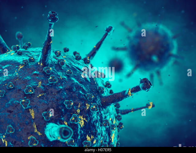 Viruses in infected organism , Viral disease pandemic , Infection - Stock Image