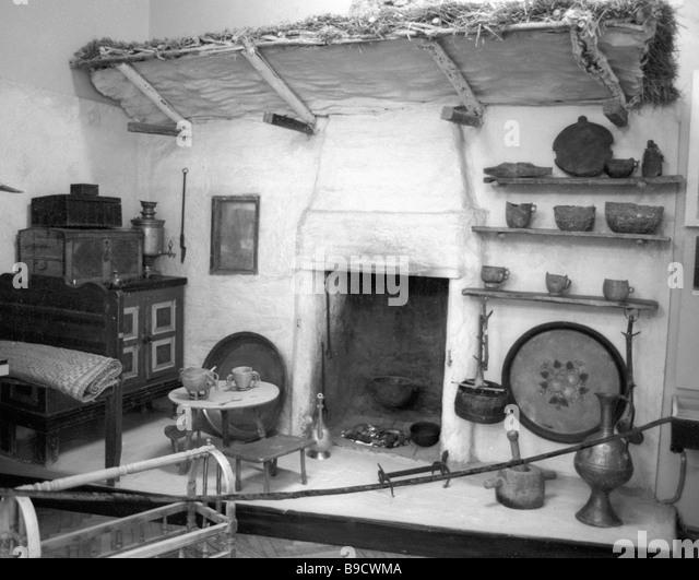 Artifacts from mid 19th century Balkar peasant dwelling shown at Kabardino Balkar Republican Museum exhibition - Stock Image