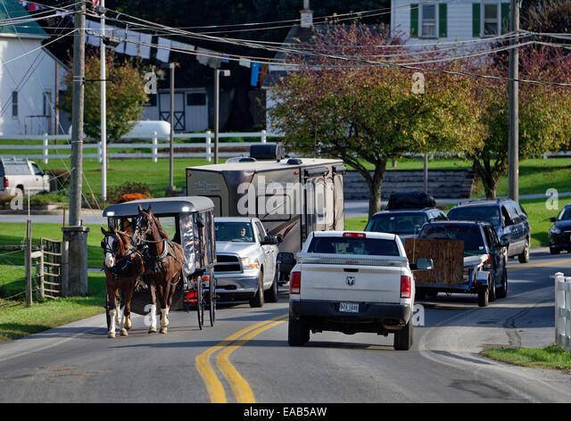 Amish buggy, Ronks, Lancaster County, Pennsylvania, USA - Stock-Bilder