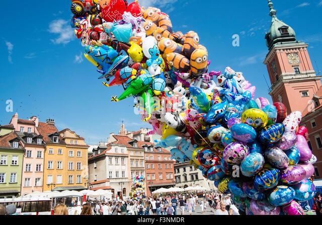 Warsaw old town summer travel landmark visit Poland - Stock-Bilder