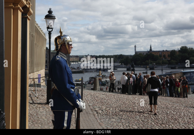 Army guard on duty near Royal Palace, Stockholm - Stock Image