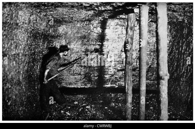 1918 tamping TNT explosives coal mine charge miner Cork and Bottle Mine Scranton Pennsylvania - Stock Image