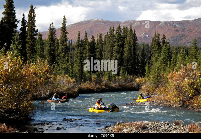 packrafts down the Sanctuary River in Denali National Park, Interior Alaska, Autumn - Stock Image
