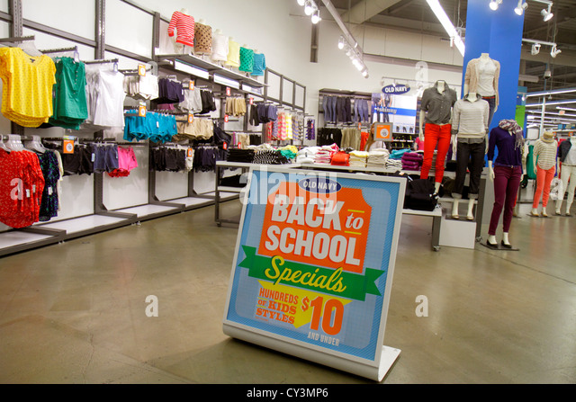 Rhode Island Providence Providence Place Mall shopping retail display for sale sign clothing fashion Old Navy back - Stock Image